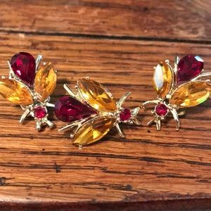 VTG Dobbs rhinestone insect brooch/earring set
